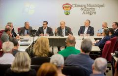 Presidente Reginaldo Pujol participa da reunião de orientações sobre Doação do Imposto de Renda para o Fundo do Idoso proposta pela Frente Parlamentar da Pessoa Idosa de Porto Alegre. Com a fala, o Presidente Reginaldo Pujol.