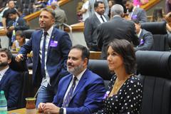 Vereadores Mendes Ribeiro, Ricardo Gomes e Comandante Nádia no Plenário Otávio Rocha