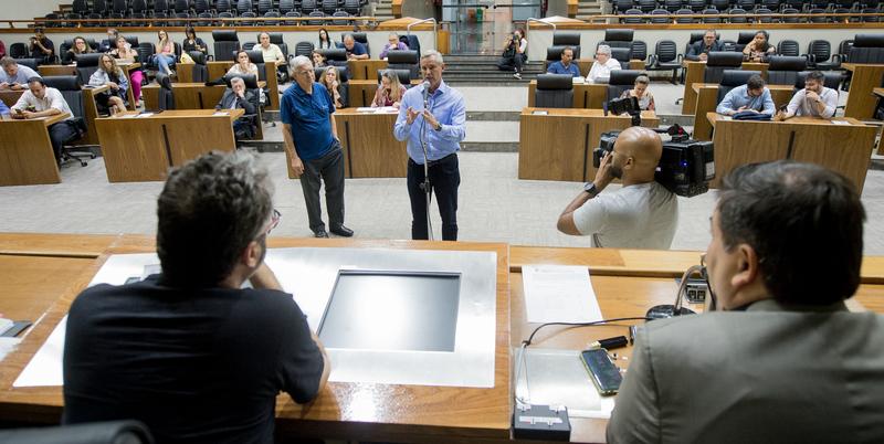 Reunião da CPI com a finalidade e investigar fatos relacionados com as denúncias apresentadas no Processo de Impeachment. Com a fala, o vereador Mauro Pinheiro.