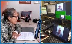 Vereadora Lourdes em reunião com a Câmara por videoconferência