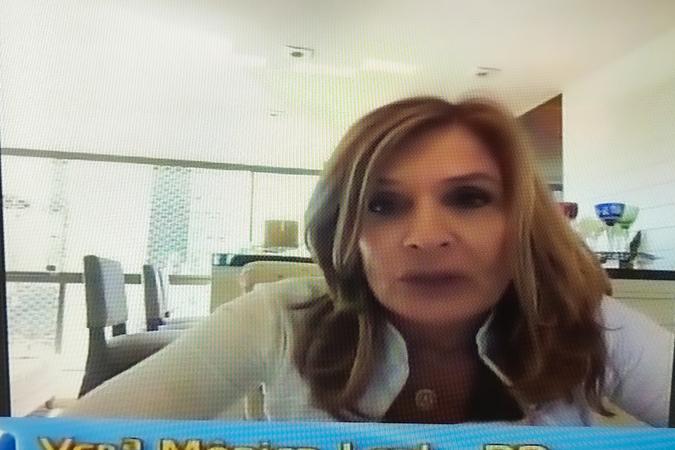 Sessão online com os vereadores. Na foto, vereadora Mônica Leal, autora de projeto votado