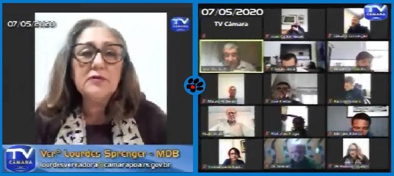 Vereadora em sessão extraordinária por videoconferência