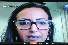 Sessão virtual com os vereadores. Na foto, a secretária municipal da Fazenda, Liziane Baum