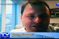Sessão virtual com os vereadores. Na foto, superintendente da Receita Municipal, Teddy Biassusi