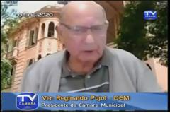 Vereador Reginaldo Pujol (DEM) em sessão virtual nesta quinta-feira