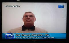 Câmara trabalho em Sessão remota. Na foto: vereador Mauro Pinheiro, líder do Governo