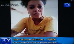 Manifestações de lideranças na sessão desta quarta (24/6). Na foto: vereadora Karen Santos
