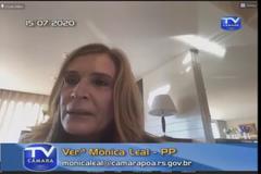 Vereadora Mônica Leal em sua manifestação em Liderança na tarde desta quarta-feira