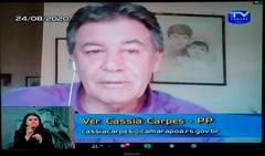 Vereador Cassiá Carpes na sessão virtual desta segunda-feira