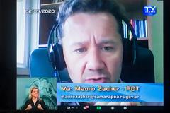 Vereador Mauro Zacher na sessão virtual desta quarta-feira