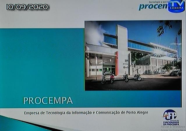aUdiência Pública para discutir sobre o PLCE 032/19, sobre a Procempa. Apresentação da estrutura da Procempa pela Associação dos funcionários.
