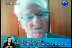 Autonomia Universitária da Ufrgs. Na foto: ex-deputado federal Constituinte, Hermes Zaneti, representante Comitê em Defesa da Democracia