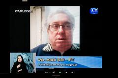 Vereador Adeli Sell na sessão virtual desta quarta-feira
