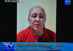 Audiência Pública para debater sobre o PLCL 002/17, que fala sobre a alteração do código de posturas do municipio quanto a queima de fogos de artifício e afins. Com a fala a vereadora Lourdes Sprenger.