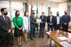 Prefeito Marchezan e equipe foram recebidos pelo presidente da Câmara, vereador Reginaldo Pujol