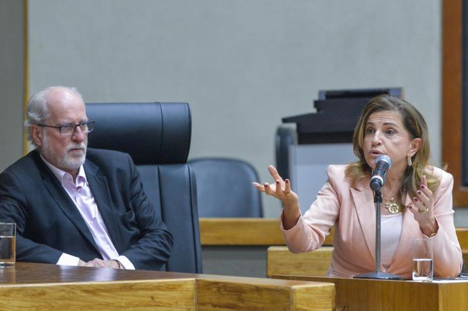 Depoimento da sra. Marta Rossi, testemunha do Prefeito Nelson Marchezan Júnior. Ao microfone, Marta Rossi.