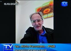 Audiência Pública para debater sobre o PLL 377/17, que trata sobre a remuneração dos agentes públicos. Com a fala, o vereador Airto Ferronato.