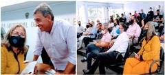 Vereadora Lourdes com o prefeito eleito, Sebastião Melo, que falou sobre os agentes IMESF