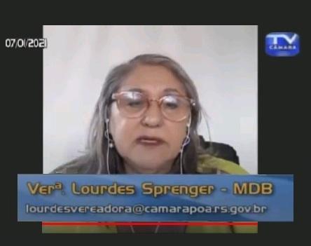 Manifestação da vereadora Lourdes durante sessão online