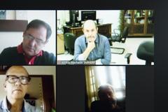 Reunião sobre a Barragem da Lomba do Sabão com a participação dos secretários André Machado, Alexandre Garcia, representantes do ministério público, vereadores da Comissão e interessados.