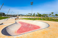 Trecho 3 da Orla do Guaíb, que está com 80% das obras concluídas, fica localizado entre a Foz do Arroio Dilúvio e o Parque Gigante. Foto: Giulian Serafim/PMPA