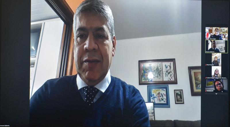 Reunião para abordar sobre o lançamento da CONAPE 2022 em Porto Alegre. Na foto, professor Antonio Saldanha.