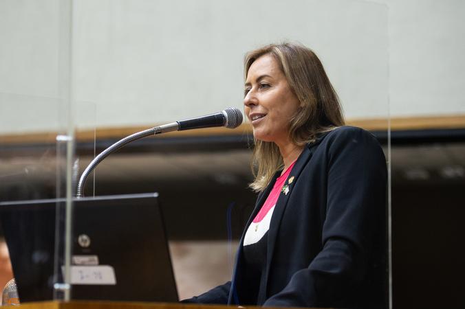 Sessão Ordinária - Vereadora Fernanda Barth na tribuna (Foto: Ederson Nunes/CMPA)