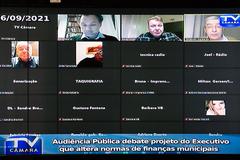 Audiência Pública debate projeto do Executivo que altera normas de finanças municipais.