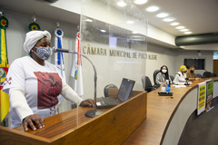 Relançamento da Frente Parlamentar em Defesa dos Povos de Matriz Africana, presidida pela Vereadora Karen Santos. Presença de autoridades e representantes dos Povos de Matriz Africana.