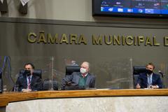 Na foto, a partir da esquerda: Gustavo Ferenci, Gunter Axt e Pablo Mendes Ribeiro