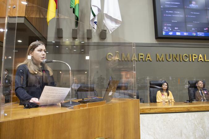 Sessão ordinária - Posse da vereadora suplente  Camila Nunes. (Foto: Ederson Nunes/CMPA)