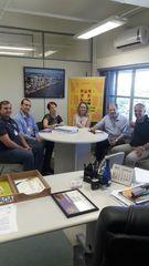Dr. Goulart em reunião com a equipe da Vigilância Sanitária da Capital e coordenadora do Banco de Sangue do Hospital Restinga.